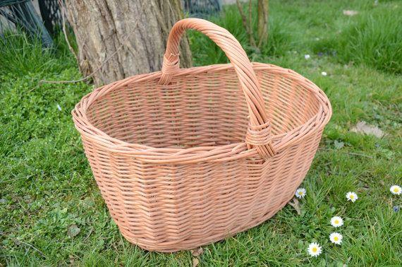 Handwoven Wicker Basket Rustic Willow Basket by WillowSouvenir
