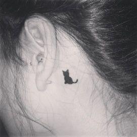 Small Black Cat Tattoo Behind Ear