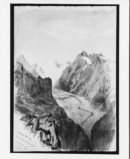 "Fiesch Glacier from Eggishorn (from ""Splendid Mountain Watercolours"" Sketchbook) - John Singer Sargent"