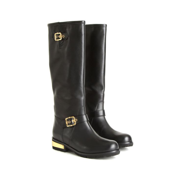 Baldinini Черные кожаные сапоги с золотистым декором от бренда Baldinini