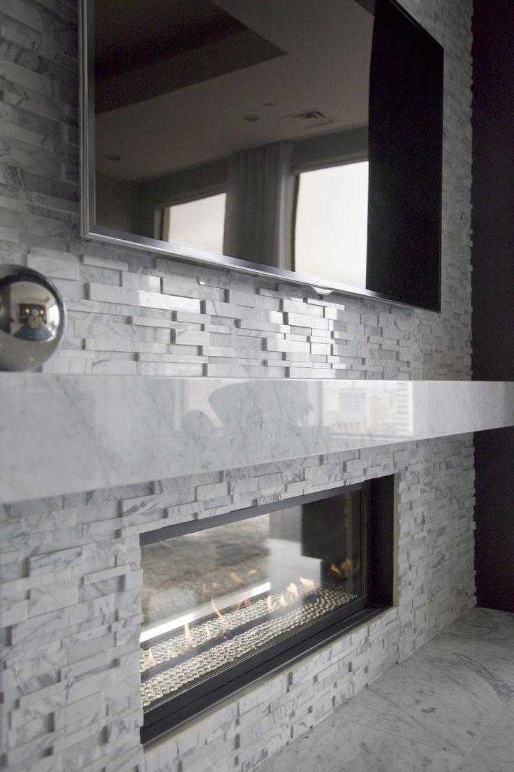 As melhores 25 ideias de modern fireplaces no pinterest for Long modern fireplace