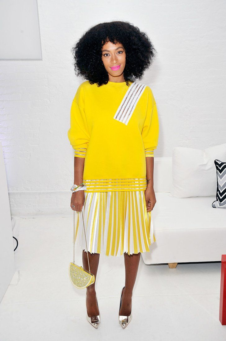 Pin for Later: Why Stay Home When You Look This Good? Solange Knowles Solange Knowles not only brightened the room but also our moods in Christopher Kane at the Q&Q launch event.
