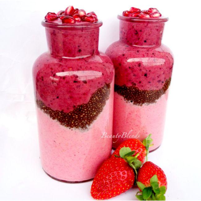 Aardbeien smoothie - met 3 mooie lagen! - Superfood Centre
