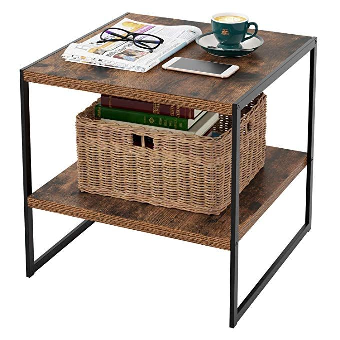 Homfa Industrial End Table 20 Inch Square Side Table Night Stand Coffee Table With 2 Tier Storage Shelf Wood Look Accent Metal Frame Modern Furniture Sturdy Square Side Table Table Decor