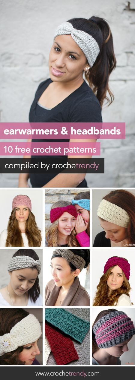 10 Free Ear Warmer & Headband Crochet Patterns | Roundup by Crochetrendy.com ༺✿ƬⱤღ http://www.pinterest.com/teretegui/✿༻