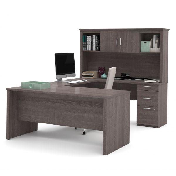 Bestar Logan U Shaped Desk In Bark Gray In 2020 Desk Home Office Furniture Furniture