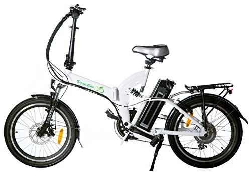 Greenbike USA folding electric bike review; This comfortable, lightweight aluminium frame allows you to easily cruise between commute destinations rather than risking your business suit to sweat and armpit stains. Powered by a 36V Samsung battery, this sturdy and fashionably built fold up bicycle is rated at a thoroughly impressive 5 Amazon stars and can reach top speeds of up to 20 mph.
