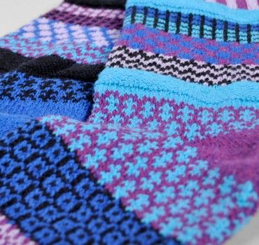 Rasberry Solmate Mismatched Knitted Socks from www.indigobluetrading.com