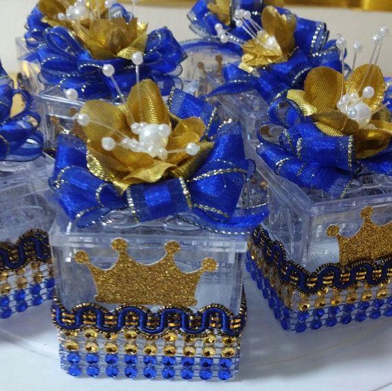 Royal Blue Baby Shower Theme: 12 Royal Prince Box Favors / ROYAL BLUE & By