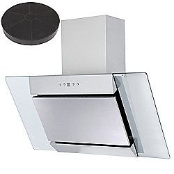 SIA AGL91SS 90cm St/Steel Angled Glass Cooker Hood Extractor Fan + Carbon Filter