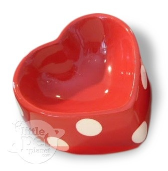Little Pet Planet - Red Polka Dot Heart-shaped Pet Dog Bowl, US$25.99 (http://www.littlepetplanet.com/dine/ceramic-pet-bowls/red-polka-dot-heart-shaped-pet-bowl/)