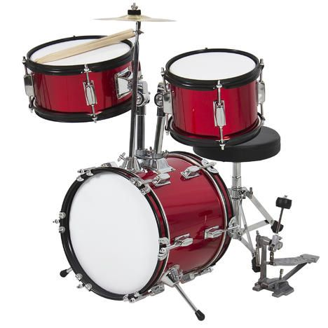 """BestChoiceproducts Kids Drum Set 3 Pc 13"""" Beginners Complete Set with Throne, Cymbal and More- Red"""