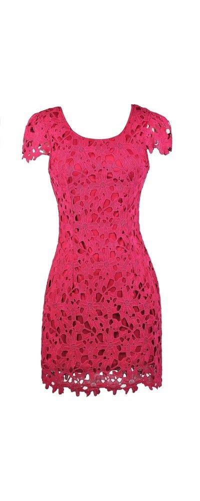 Lily Boutique Aris Crochet Lace Capsleeve Pencil Dress in Hot Pink, $50 Hot Pink Crochet Lace Dress, Pink Lace Pencil Dress, Hot Pink Party Dress, Cute Bright Pink Dress, Fuchsia Lace Pencil Dress www.lilyboutique.com