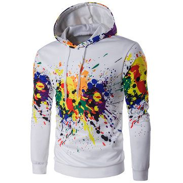 Fashion Printing Ink Mens Hoodies Casual Sport Unisex Front Pocket Pullover Sweatshirts at Banggood