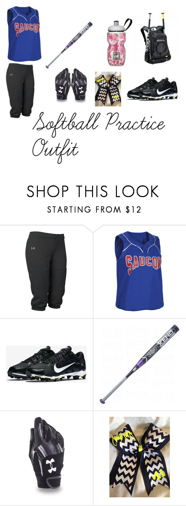 """Softball Practice Outfit"" by softballlover2004 on Polyvore featuring Under Armour, NIKE, Louisville Slugger, women's clothing, women's fashion, women, female, woman, misses and juniors"
