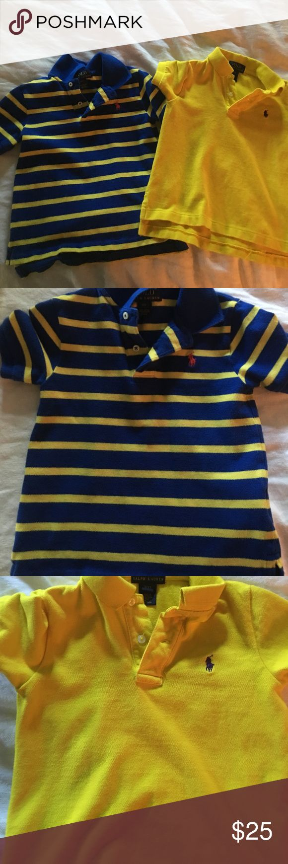 Polo shirts In great condition. 100% cotton. Blue and yellow stripes with red polo symbol. Yellow with purple polo symbol. Collared shirts. Polo by Ralph Lauren Shirts & Tops Polos