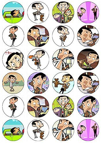 24 Mr Bean Edible Wafer Paper Cup Cake Toppers