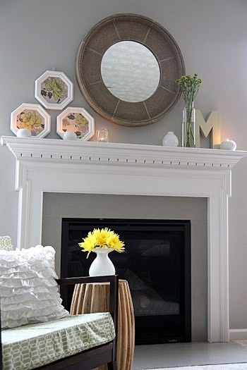 mantel: Fire Place, Round Mirror, Mantle Idea, Wall Color, Fireplaces, Fireplace Mantels, Living Room, Fireplace Ideas