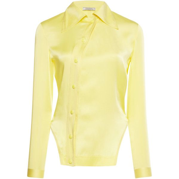 Nina Ricci Off-Center Button Up Blouse (18.960 ARS) ❤ liked on Polyvore featuring tops, blouses, yellow, nina ricci blouse, yellow blouse, nina ricci, beige long sleeve top and beige long sleeve blouse