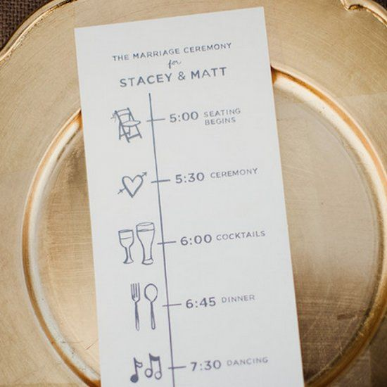 "Get creative with your wedding programs with these fun ideas like illustrations, puzzles and ""newspapers."" Photo by Shaun Menary"