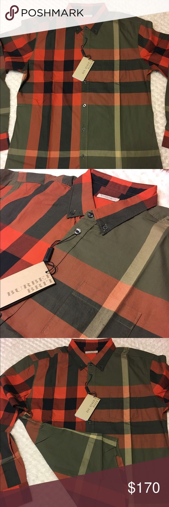 New burberry shirt for men L New with tags burberry shirt for men long sleeves military khaki color 100% cotton made in Thailand size large Burberry Shirts Casual Button Down Shirts