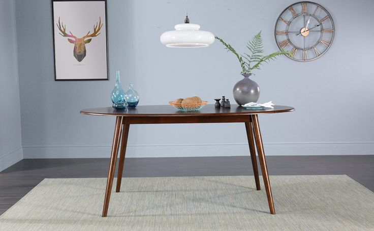 Suffolk Oval Dark Wood Dining Table with 4 Chester Chairs (Brown Seat Pad)