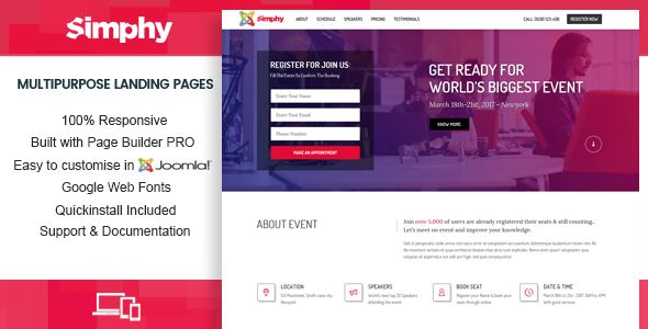 simphy creative multipurpose joomla landing templates with page