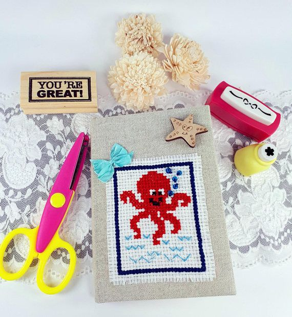 Journal with octopus fabric covered notebook traveling