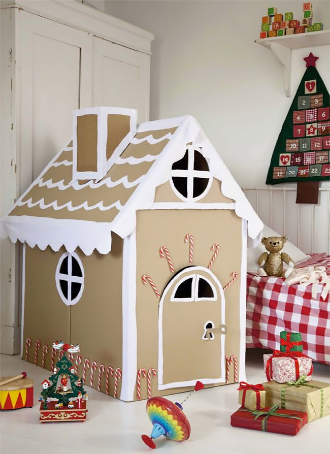 Cardboard Gingerbread House | Christmas DIY Inspiration (This would be fun to let the kids finish decorating with pre-cut candy shaped craft paper. )