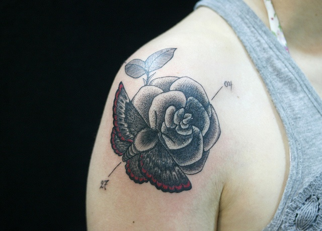 moth and rose shoulder tattoo nice placement tattoo pinterest sexy bra nice and ink. Black Bedroom Furniture Sets. Home Design Ideas