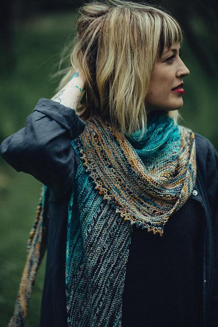 Drea Renee Free Your Fade Shawl Knitting Pattern with eyelets and picot designed by Andrea Mowry