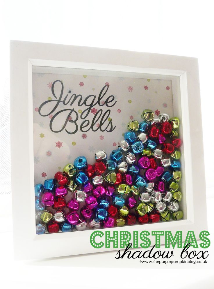 Fill a deep shadow box about half way with small jingle bells (or ornaments) of your choice, and use double-back tape to affix a holiday-themed piece of scrapbooking paper to the backboard of the box. Description from guidinghome.com. I searched for this on bing.com/images