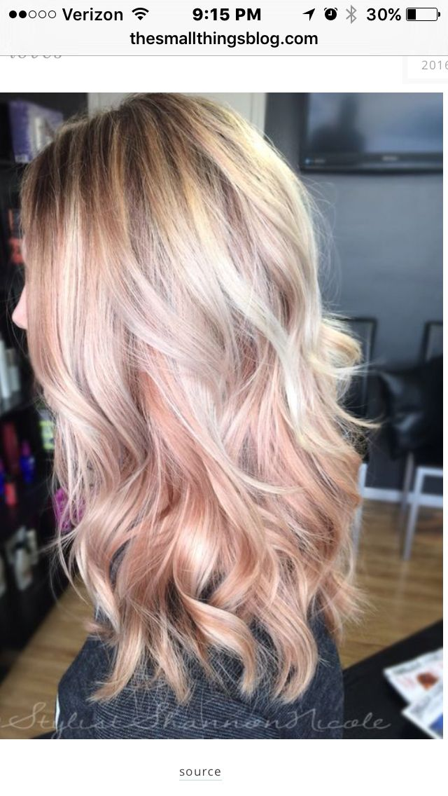 Rose gold accent with blond hair...Stunning!      ~from the small things blog