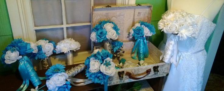17 Piece Malibu Blue White Daisy Bridal Bouquet Wedding Bouquet Set, Turquoise Daisy Bouquet, Turquoise Bouquet, Malibu Blue Bouquet