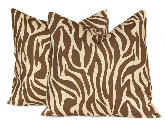 Pillow Throw Pillow Decorative Throw Pillow by FestiveHomeDecor, $15.00 Animal Zebra Print Brown Pillows