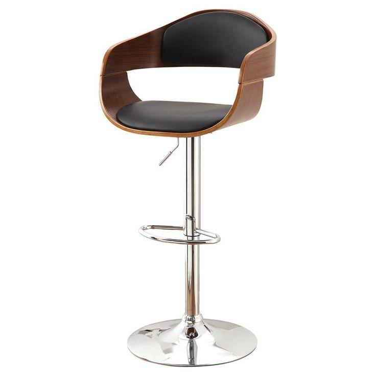 Ariana Adjustable Swivel Barstool - Dark Oak - Furniture of America, Dark Brown
