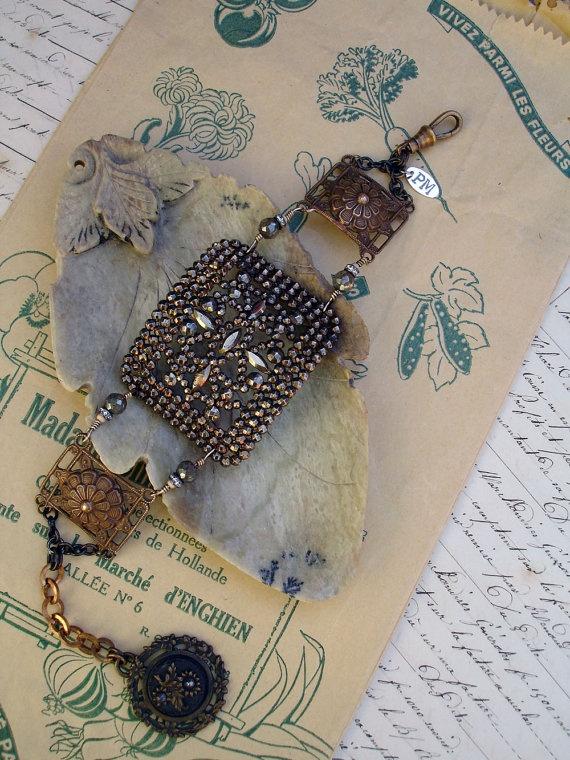Repurposed Buckle Floral Bracelet by PaulaMontgomery on Etsy, $180.00