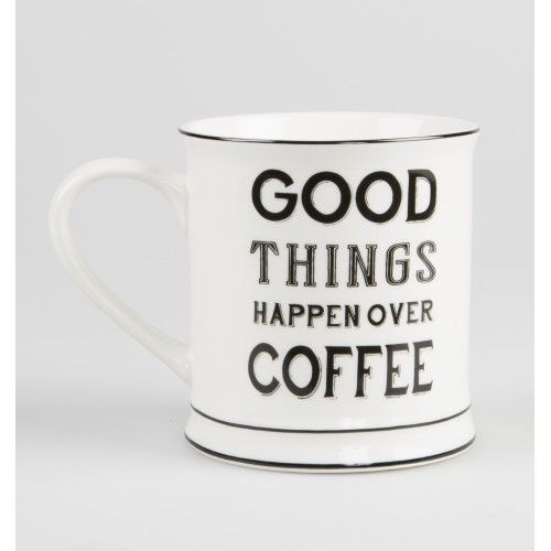 sass and belle ceramic mug good things happen over coffee. Was £6.50 Now £5.00 at www.heavensjunkyard.co.uk