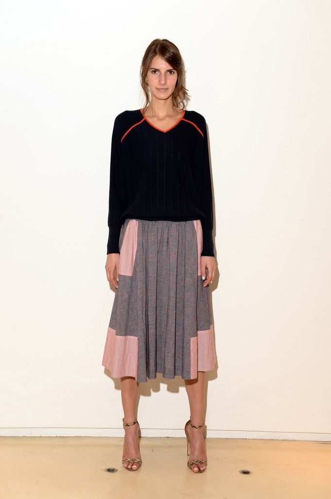 M. Patmos - love how cool and casual this is, drapey skirt - simple sweater, strippy heeled sandals.