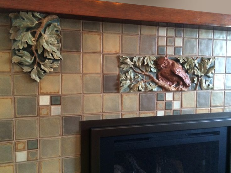 23 best images about fireplace ideas on pinterest arts for Arts and crafts fireplace tile