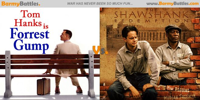 Forrest Gump Vs The Shawshank Redemption. Book worms ! Your much awaited novel based film written by two renowned authors in Literature is in motion.  #TomHanks #TimRobbins #MorganFreeman  VOTE FOR YOUR FAVORITE!!! www.barmybattles.com/2013/10/02/forrest-gump-vs-the-shawshank-redemption/