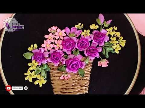 Embroidery Of Flowers Basket Youtube In 2021 Ribbon Art Ribbon Embroidery Embroidery