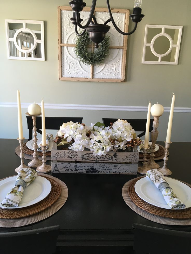 Fall dining room table setting / tablescape with a Modern ...