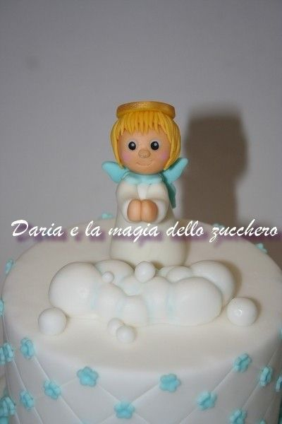 #Torta battesimo #Baptism cake #Cherub fondant #Angioletto