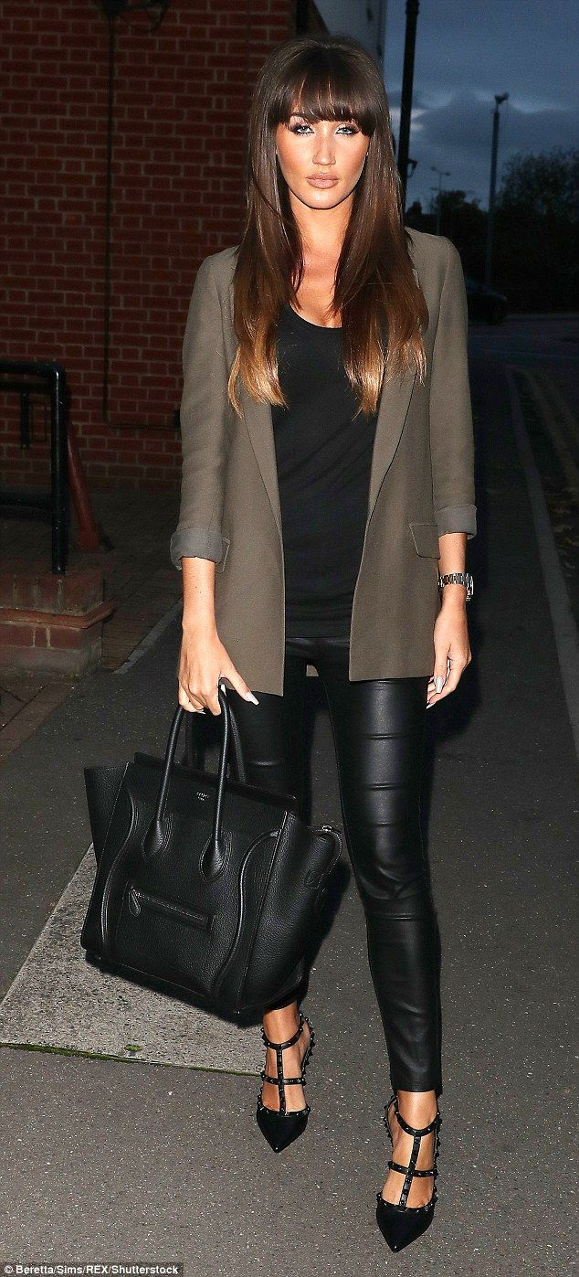 TOWIE's Megan McKenna teamed her black Rockstuds with leather leggings for filming in Octo...