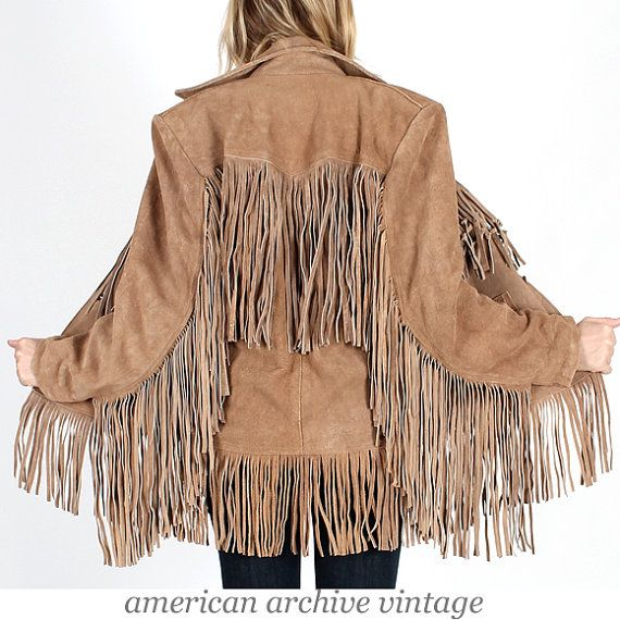 Vintage 70s Tan SUEDE Leather FRINGE coat by americanarchive, $128.00