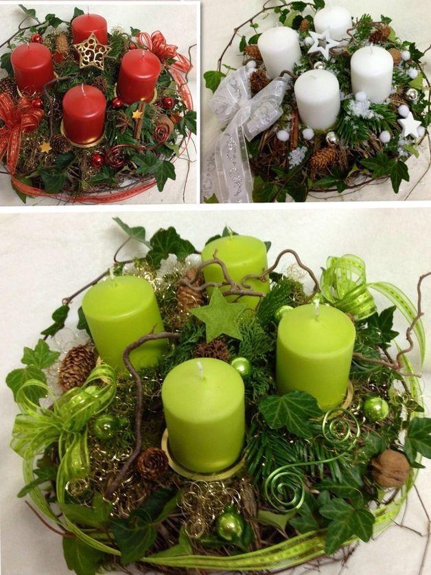 Adventskranz frisch Weidenreisigkranz -Farbwahl-