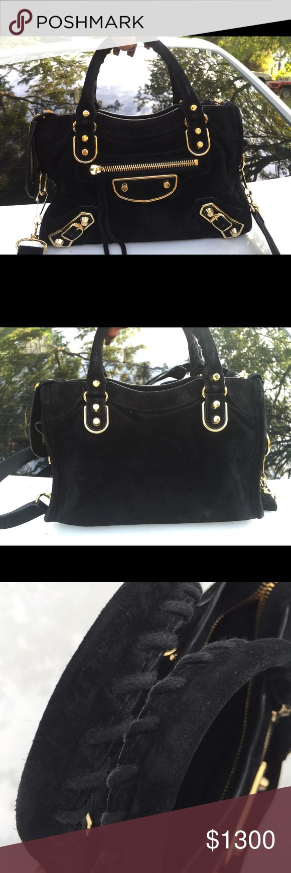 Balenciaga metallic edge mini city Black suede gold hardware. Purchased this bag from barneys New York two months ago (July 2016) for $1593.00.  I have proof of purchase, receipts and can provide additional pictures per request. Previously loved but very little signs of wear and still very new (2 months new). 100% authentic. Comes with dust bag and extra material patch, mirror and long strap Included. Will go lower through pay pal, I prefer to sell but I may be willing to trade for another…