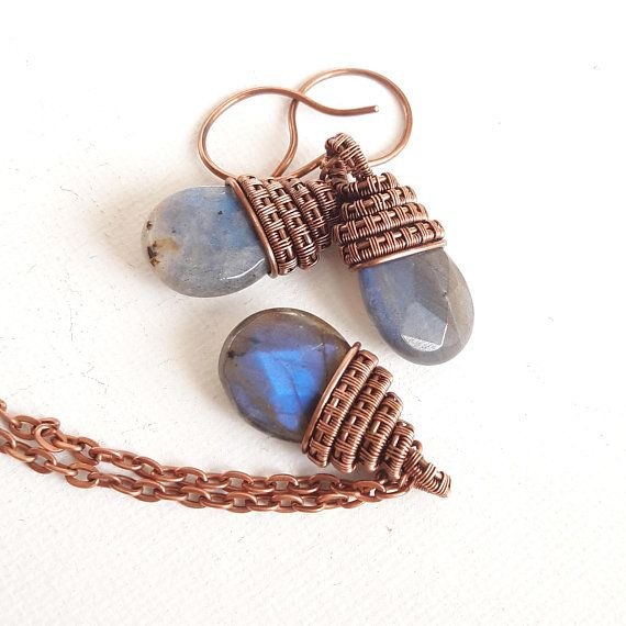Set in copper and pretty stones faceted labradorite earrings, wire wrapped necklace and jewelry natural stone Labradorite
