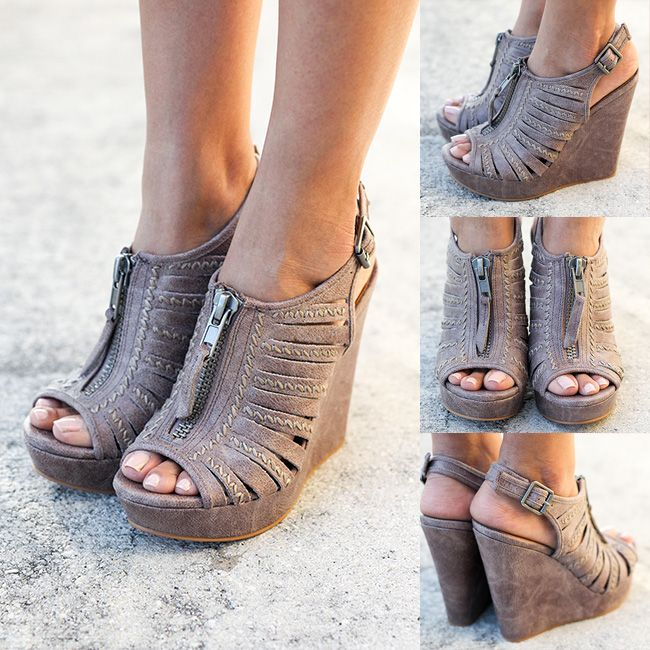 NO WAY! These must have wedges are here in this pretty Gray color! Make sure you get yourself a pair! Shop at savedbythedress.com